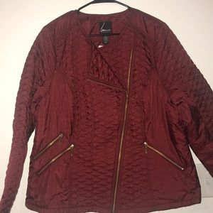Deep red trendy/dressy puffer jacket - NWT